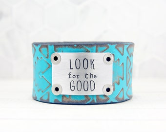Look for the Good Leather Cuff Bracelet, Boho Bracelet for Women, Inspirational Gifts for Her