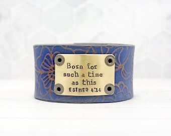 For Such a Time as This Leather Cuff Bracelet, Inspirational Bracelet for Women, Inspirational Gifts for Her