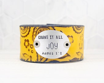 Count it All Joy Leather Cuff Bracelet, Religious Gifts for Her, Inspirational Gifts for Her