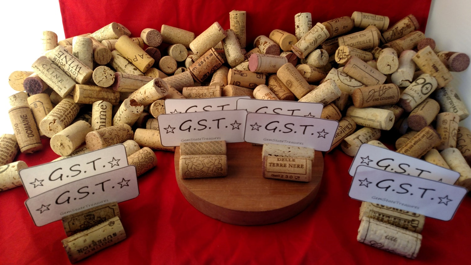 125 Used Natural Wine Cork Place Card Holders For Vineyard Wedding