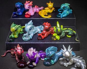 BIRTHSTONE DRAGON Custom Personalised Sculpture   Made to Order Miniature Polymer Clay Dragon   Handmade Birthday Gift, Birthstone, Gemstone