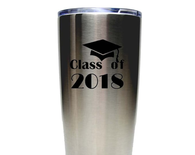 Graduation Stainless Steel 20 oz Tumbler with a Clear Lid Custom Engraved including Choices of Color and Spill Proof Slide Lid