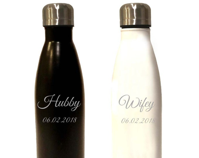 Hubby Wifey - Set of 2 - Sports Water Bottles - 17 ounce - Stainless Steel with Screw On Cap - Engraved - Choices of Color and Text