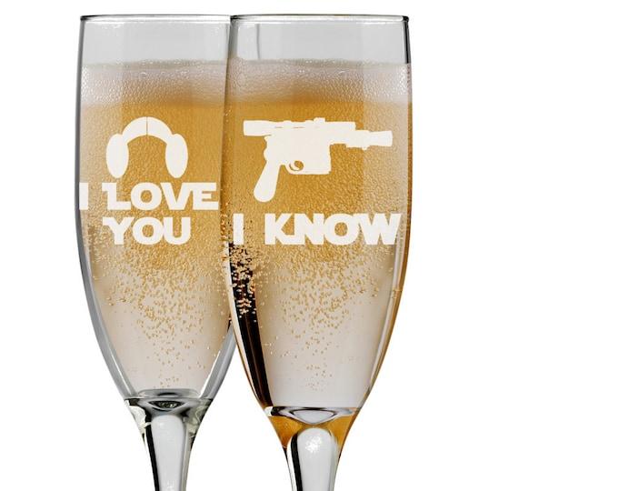 Star Wars Inspired Bride & Groom Champagne Flutes, I Love You I Know, Set of 2 Mr and Mrs Wedding - 6 oz - Engraved - Choices of Name/Date