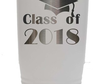 Graduation Stainless Steel 20 ounce Tumbler with a Clear Lid Custom Engraved including Choices of Color and Spill Proof Slide Lid