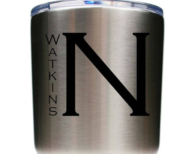 Monogrammed Tumbler made of Stainless Steel with a Clear Lid including Choices of 12 - 20 - 30 ounce, Color, Name, Letter & Spill Proof Lid