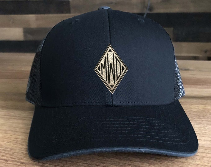 Monogram Initials Trucker Hat - Mesh Back with Patch Custom Engraved including Choices of Hat Color, Patch Color and Initials