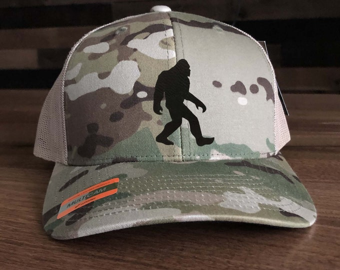 Squatch Big Foot I Believe Trucker Hat - Big Foot Silhouette Mesh Back with Patch Choices of Hat Color, Patch Color