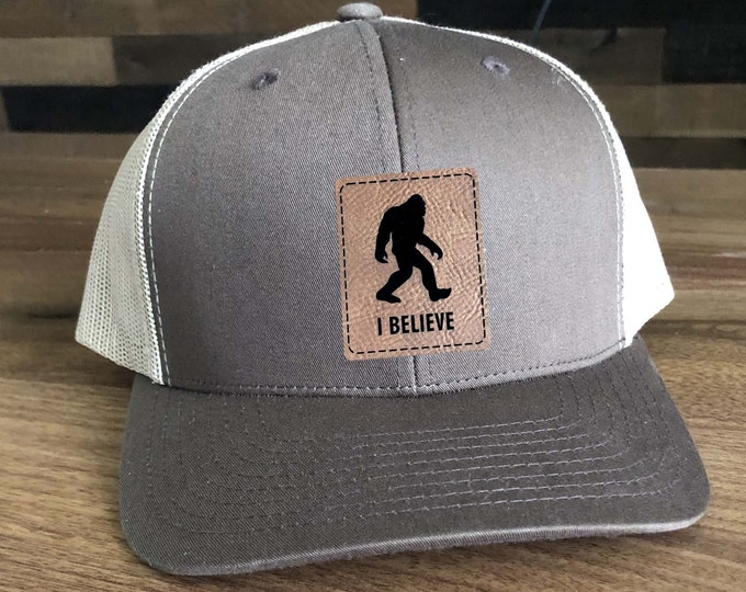 Squatch Big Foot I Believe Trucker Hat - Mesh Back with Patch Custom Engraved including Choices of Hat Color, Patch Color
