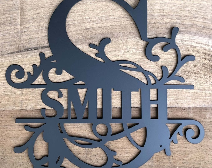 Front Door Family Sign made of 16 Gauge Steel with Choices of Name, Letter, Three Sizes & Twelve Finished Colors