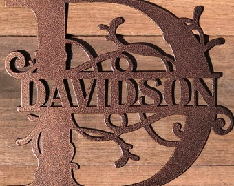 Monogram Door Sign made of 16 Gauge Steel with Choices of Color, Text and Letter