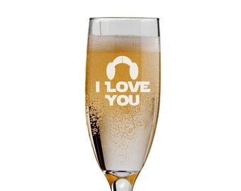 Star Wars Inspired Bride & Groom Champagne Flutes, I Love You, Mr and Mrs Wedding - 6 oz - Engraved - Choices of Name/Date