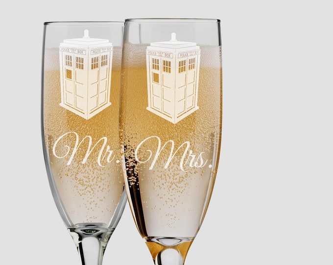 Dr. Who Inspired Police Box Tardis Bride and Groom Champagne Flutes - 6 ounce - Engraved Set of 2 Toasting Glasses - Choices of Name & Date