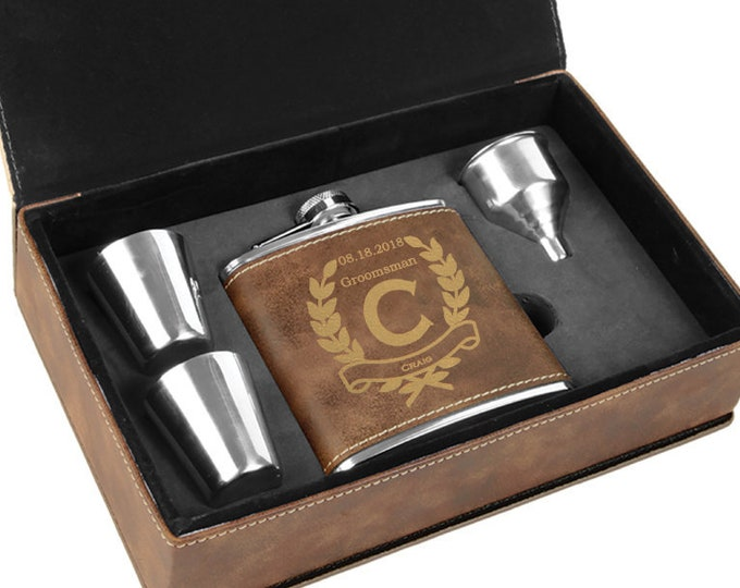Groomsmen Gift - Rustic 6 ounce Stainless Steel Flask - Gift Box Custom Engraved - Choice of Design, Name, Title & Date