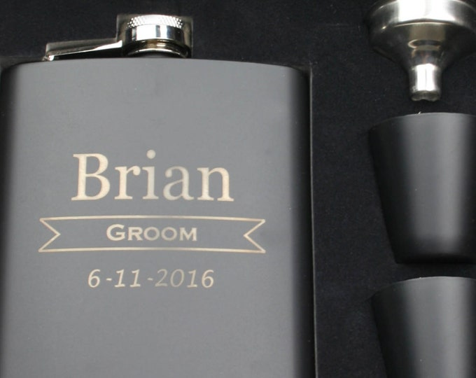 Groomsmen Gift Set of 10 Personalized Black Stainless Steel Hip Flasks - 7 ounce , Custom Engraved Design with Gift Box - Monogrammed