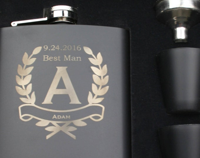 Groomsmen Set of 9 Personalized Black Stainless Steel - 7 ounce - Hip Flask, Custom Engraved Design with Gift Box - Monogrammed