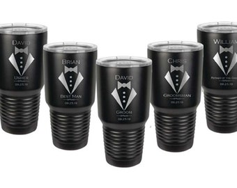 Groomsmen Tumblers - Set of 8 - Stainless Steel with Clear Lid - 30 ounce - Custom Engraved - Choice of Colors & Design - Bridesmaid Gift