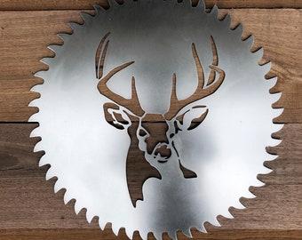Deer Head Design Steel Saw Blade Sign with Choices of Color - Door Monogram, Front Door Decor, Gift for Hunter