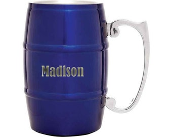 Barrel Mug 17 ounce Stainless Steel with Handle Custom Laser Engraved including Choice of Four Colors, Text & Twelve Fonts