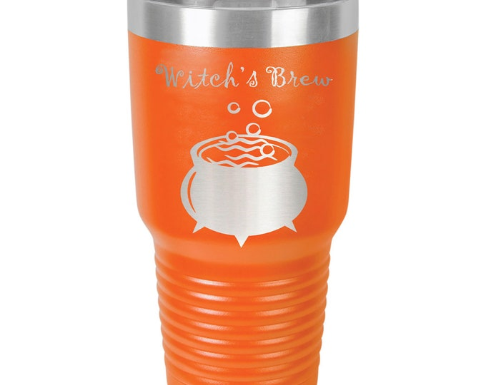 Witch's Brew Halloween Tumbler - Stainless Steel with Clear Lid - Choice of 12 - 20 - 30 oz, Colors & Your Text - Custom Laser Engraved Gift