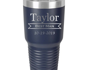 Groomsmen Tumbler made of Stainless Steel Laser Engraved with a Clear Lid - Choices of 12 - 20 - 30 ounce, Color, Design & Spill Proof Lid