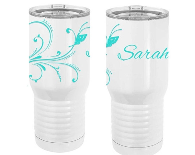 Butterfly Design on a White Tumbler with Choice of Thirty-Five Design Colors made of Double Wall Stainless Steel 20 oz with a Clear Lid