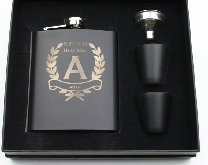 Hip Flask Gift Set - 7 ounce - Black Stainless Steel Custom Engraved with a Gift Box including Choices of Design