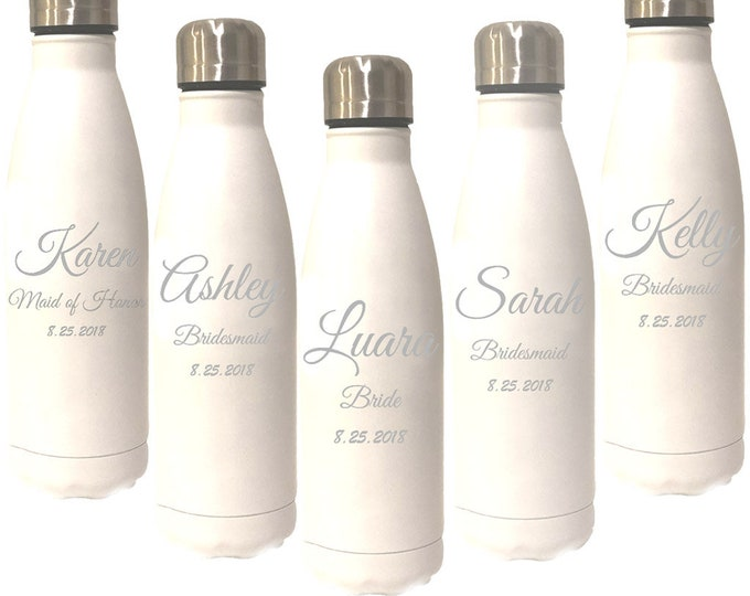 Sports Water Bottle - 17 ounce - Stainless Steel Custom Engraved - Screw On Cap - Choice of Colors, Name, Title & Date