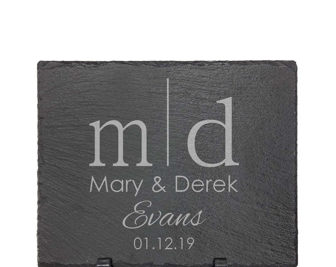 """Wedding Sign - Slate 8"""" x 10"""" with Plastic Feet - Choice of Letters, Name & Date - Personalized Custom Engraved - Anniversary Gift"""