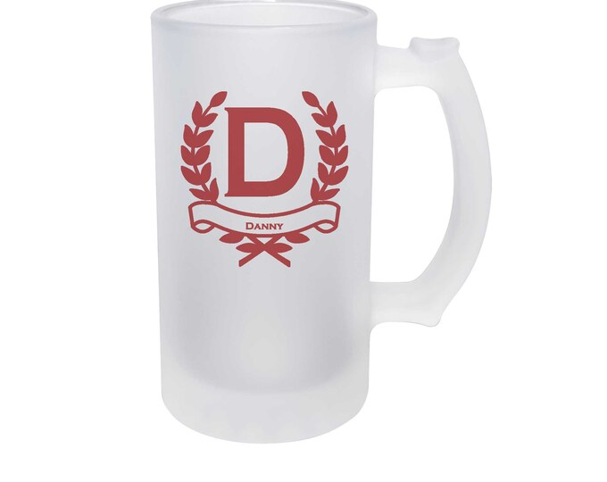Elegant Wreath Design on a Frosted Glass Mug - 16 ounce - Choice of Thirty-five Design Colors - Not a Vinyl Decal, Dye Process