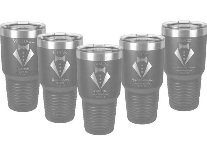 Wedding Design 30 ounce Tumbler Set of 2 to 15 Stainless Steel Custom Engraved with a Clear Lid and Choices of Color, Design, Name, Title