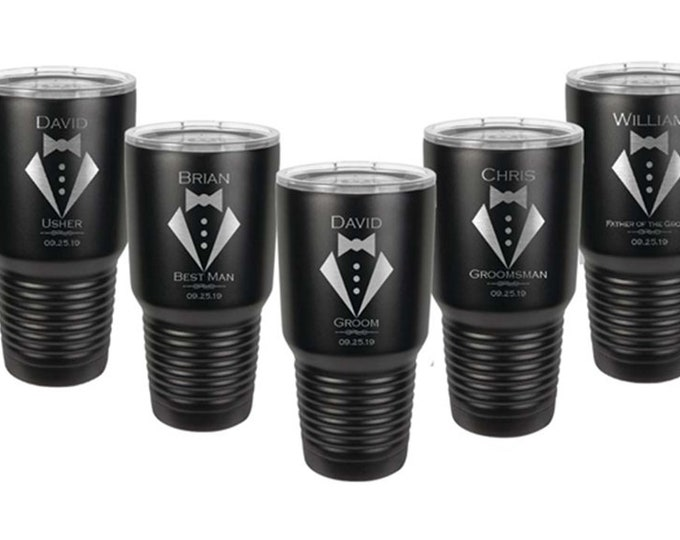 Wedding 30 ounce Tumbler Sets of 2 to 15 Stainless Steel with a Clear Lid - Custom Engraved - Choices of Color, Design, Name, Title and Date