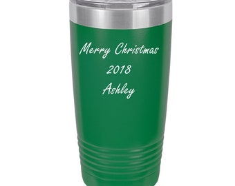Christmas 2020 Tumbler made of Stainless Steel with a Clear Lid - Choices of 12, 20, 30 ounce, Color, Text & Twelve Fonts - Custom Engraved