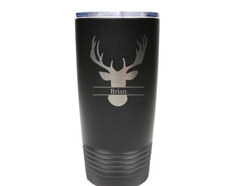 Deer Hunter Name Tumbler made of Stainless Steel Laser Engraved with a Clear Lid - Choices of 12 - 20 - 30 oz, Color, Name & Spill Proof Lid