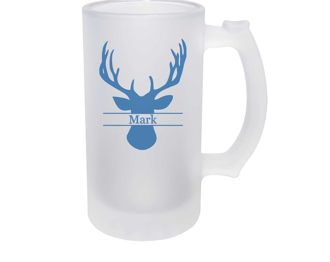 Deer Hunter Frosted Glass Beer Mug 16 ounce Personalized with Choices of Thirty-Five Colors and Text -  Dye Process Not a Vinyl Decal