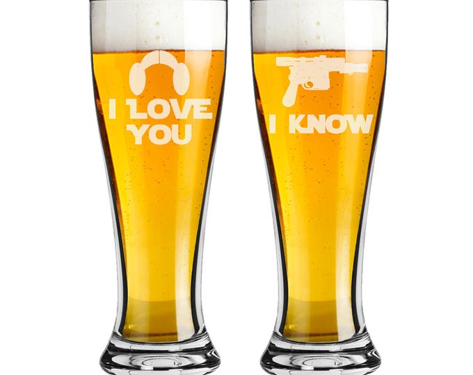 Star Wars Inspired - Pilsner Beer Glass 16 ounce - I Love You I Know - Set of 2 - Choices of Name and Date