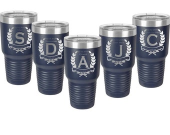 Wedding Party Tumbler made of Stainless Steel 30 oz Laser Engraved with a Clear Lid - Set of 4 to 15 - Choices of Color and Twelve Designs