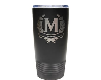Personal Tumbler - Stainless Steel with Clear Lid - Choices of 12 - 20 - 30 oz, Color, Name, Letter & Spill Proof Slide Lid - Engraved Gift