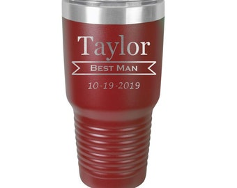 Groomsmen Tumbler - Stainless Steel w/Clear Lid - Choices of 10 - 12 - 20 - 30 ounce, Color, Design, Name, Title, Date & Spill Proof Lid