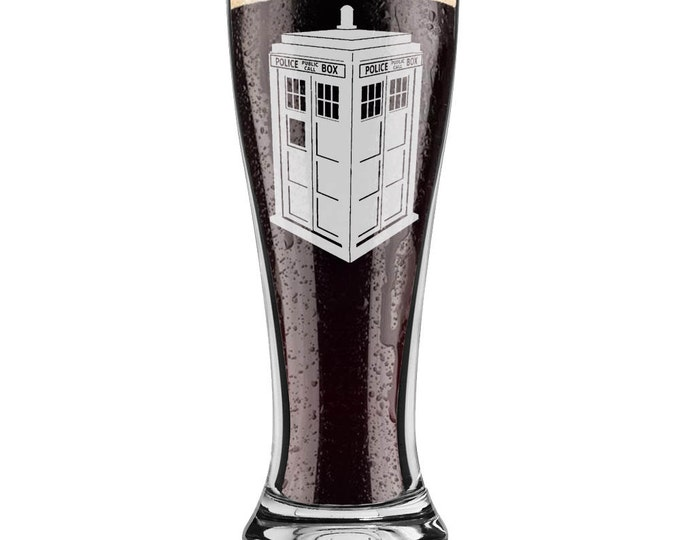 Dr. Who Inspired Police Box Tardis Pilsner 16 ounce Pint Beer Glass Laser Engraved including Choice of Text