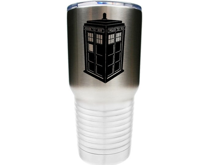 Dr. Who Inspired Tardis Police Box - Stainless Steel Tumbler with a Clear Lid - Choices of 10 - 12 - 20 - 30 ounce, Color, Text & Font