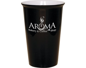 Ceramic Coffee Mug - 14 ounce  with a Silicone Lid - Choices of Six Colors, twelve Fonts, Text and Color Lid - Custom Engraved