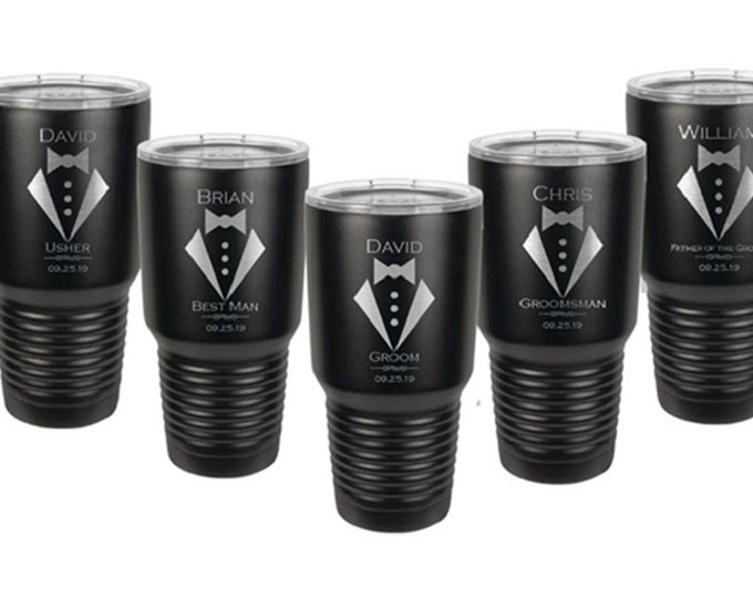 Wedding Design Tumbler 30 oz in Sets of 2 to 20 Custom Engraved Stainless Steel with a Clear Lid - Choices of Design and Color
