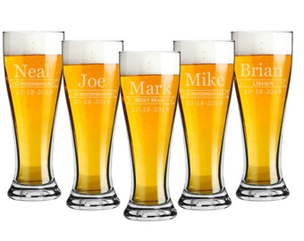 Groomsmen Gift - Pilsner 16 ounce Beer Glasses - Set of 4 - Choice of Design - Personalized Custom Engraved, Bridal Party, Bridesmaid Gift