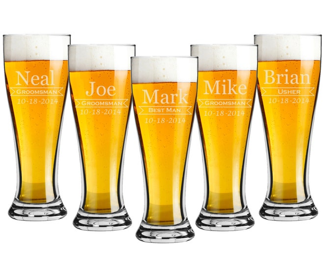 Bridal Party Gift - Pilsner 16 ounce Beer Glasses - Set of 6 - Choice of Design - Custom Laser Engraved