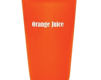 Juice Mug - 14 ounce - Ceramic with a Silicone Lid including Choices of Color, Name, Date, Color Lid, Font & Text - Laser Engraved