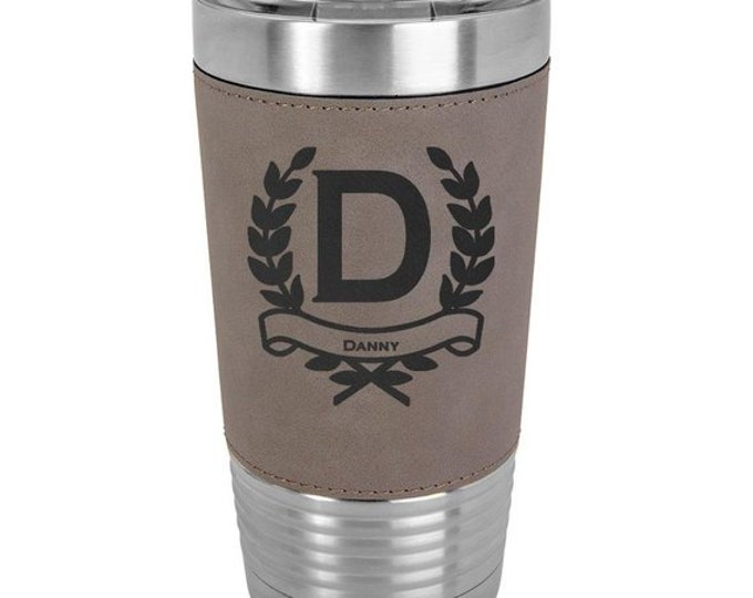 Wreath Name Tumbler made of Stainless Steel 20 oz with a Clear Lid Custom Engraved - Choices of Color, Text & Spill Proof Lid