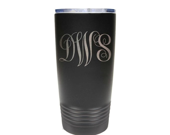 Personal Tumbler - Stainless Steel with Clear Lid - Choice of 12 - 20 - 30 ounce, Color, Letters & Spill Proof Slide Lid - Custom Engraved