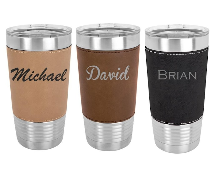 Name Tumbler - Stainless Steel with Clear Lid - Choice of 12 - 20 - 30 ounce, Color, Text, Font & Spill Proof Slide Lid Laser Engraved