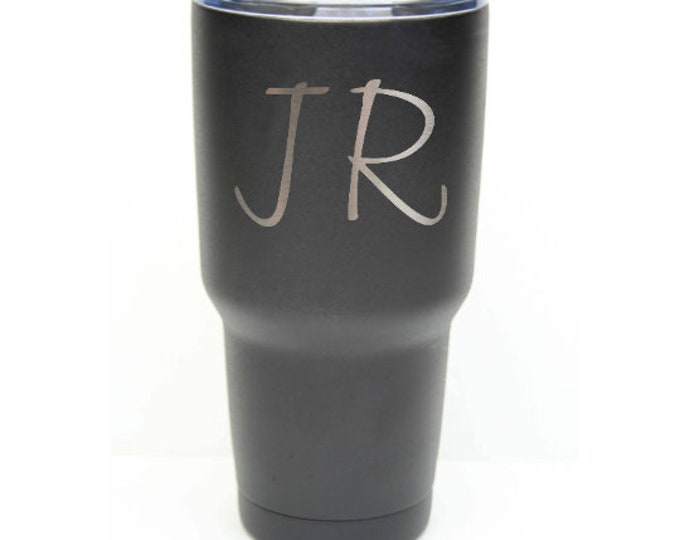 Initial Tumbler made of Stainless Steel Custom Engraved with a Clear Lid - Choices of 12 - 20 - 30 ounce, Color, Letters & Spill Proof Lid